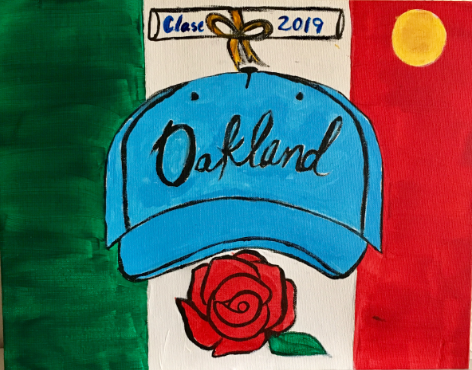 "Painting depicting a hat with the word ""Oakland"" and a diploma and rose next to the hat in front of the Mexican flag."