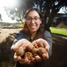 Erika Estrada outside Robert Monday Institute with Walnuts