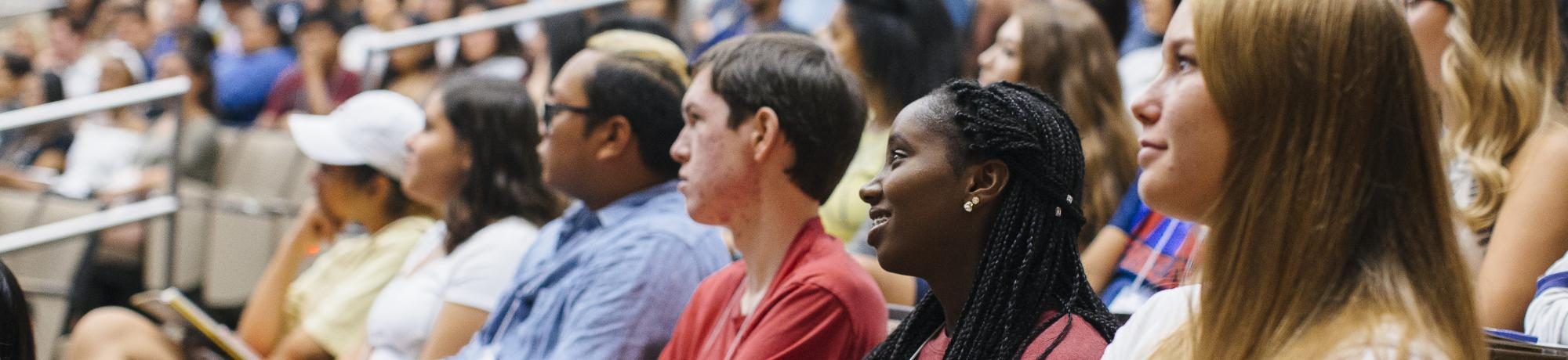 Students at a talk by 1st Gen Faculty and Dean Carolyn Thomas